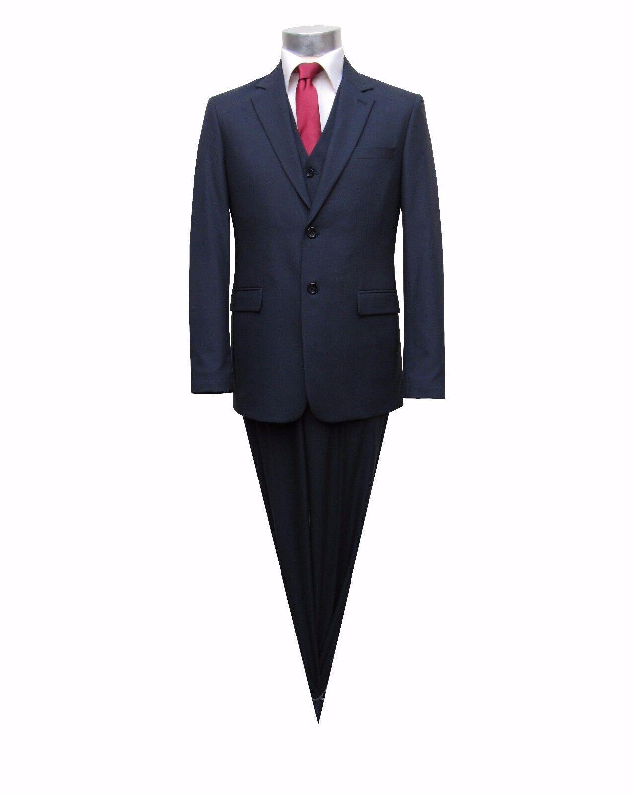 Herren Anzug 3 teilig Modern Fit Gr.72 Dunkelblau