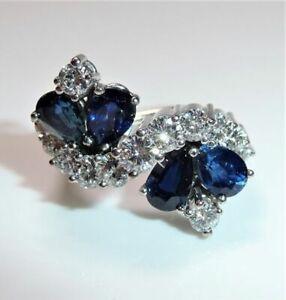 950 Platinum Ring 3.20 CT Sapphire 1,16 CT Diamonds Size: 55-56 (17,5 -17, 8 MM)