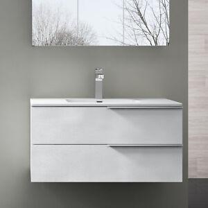 Das Bild Wird Geladen Badmoebel Badezimmer Badezimmermoebel Waschbecken  Schrank Weiss Struktur PAESTUM900