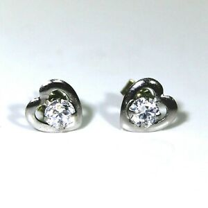 5507d0a51 Image is loading 9ct-9k-White-Gold-Heart-Cubic-Zirconia-Stud-