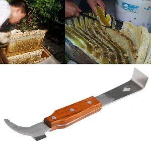 New-Handle-Wooden-Stainless-Steel-Bee-Hive-Scraper-Beekeeping-Equipment-Tool-TY