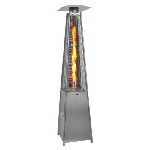 13KW Gas Patio Heater Flame Stainless Steel Pyramid Garden Outdoor W// Wheel Tube