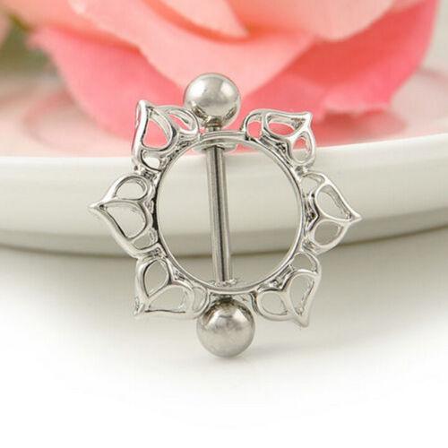1//2X Foxy Surgical Steel Floral Flowers Body Piercing Nipple Shield Rings BarLAC