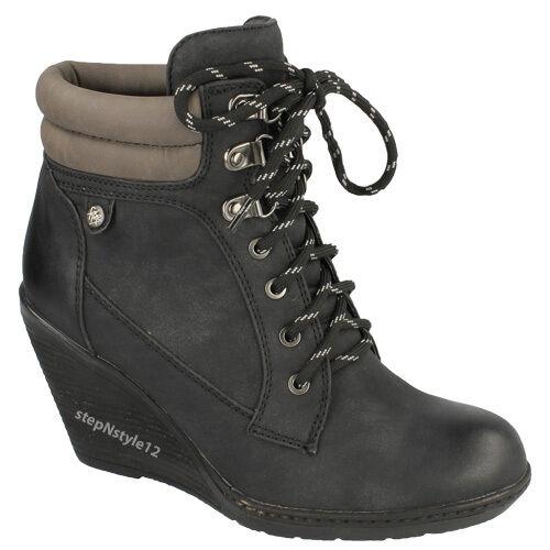 Casual Vitello Smart Ladies Top Desert imbottita Wedge Moda Ankle Boots Lace Black Biker xwYBPqgp