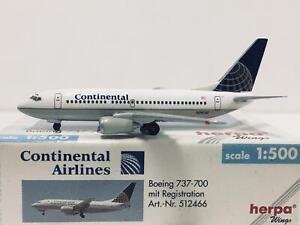 Herpa Wings Continental Airlines Boeing 737 700 1 500 N24702 512466 Ebay