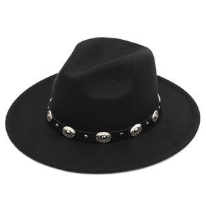 New Unisex Stiff Wide Brim Fedora Hats Wool Blend Panama Caps ... 20a7ae2263e