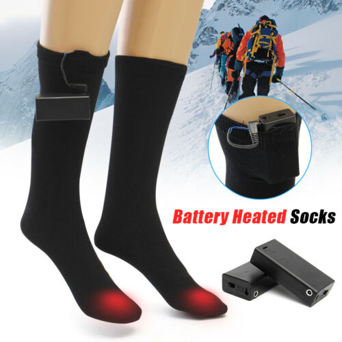 1 Pair L Battery Heated Socks Feet Foot Warmer Electric Heater Warm For Cold!