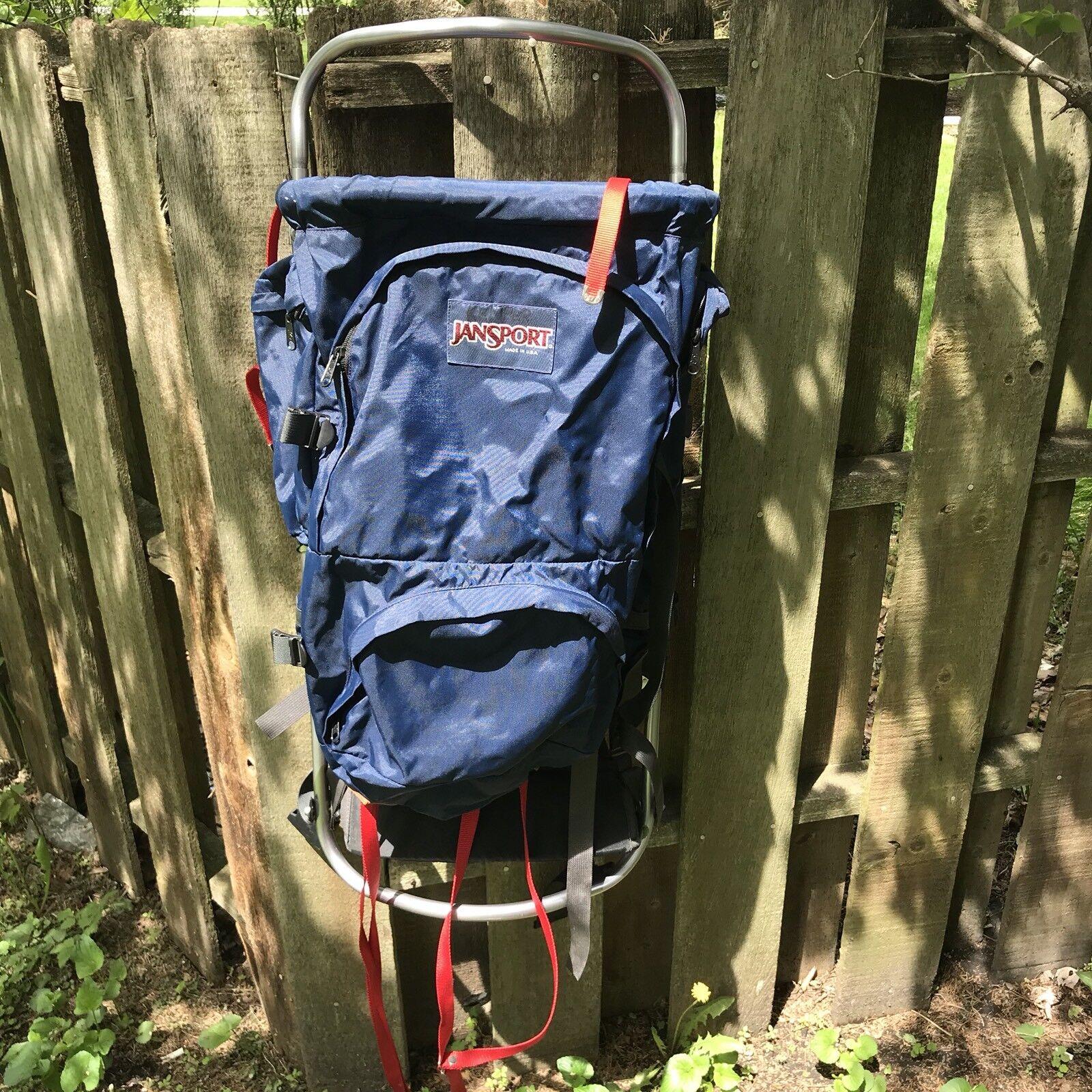 Vtg Jansport Blau   rot External Frame Backpack Hiking Camping Made in USA