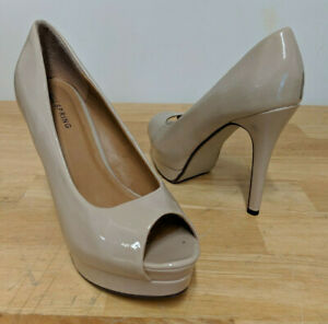 bdbd9f34011 Details about Call it Spring Ladies Peep Toe Nude Patent Stiletto Heels -  UK 5 EU 38