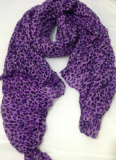 PURPLE LEOPARD ANIMAL FASHION SCARF WRAP SHAWL SOFT LONG LIGHTWEIGHT MATERIAL