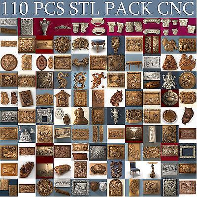 3d stl Model relief 110pcs Pack for CNC Router Artcam