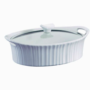 Corningware 1105935 French White Oval Casserole with Glass Cover, 2.5 Qt