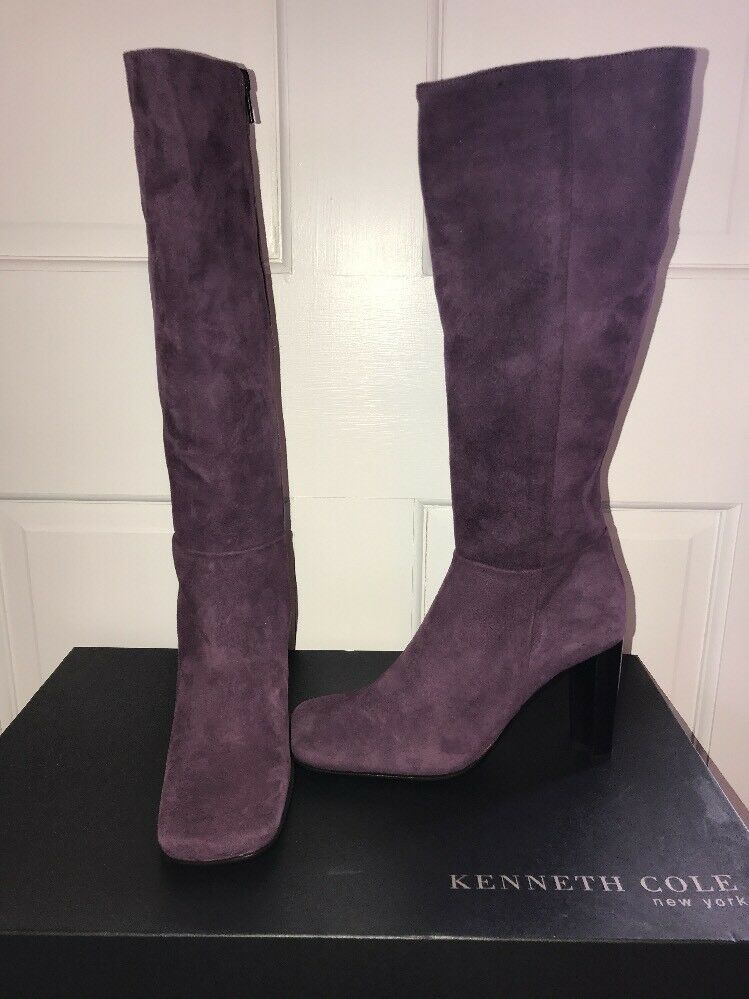 NIB Kenneth Cole Genuine Suede Perfect Timing Heeled Tall Boots Size 5