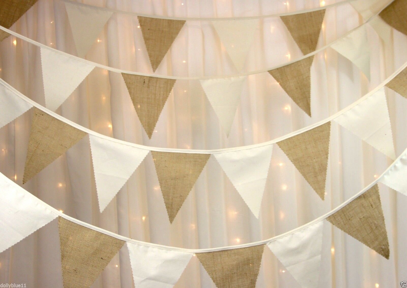 Bunting with hessian burlap & natural calico barn weddings, rustic, vintage,