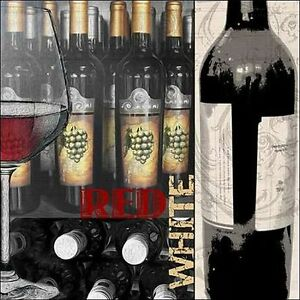 Lisa-Wolk-Red-White-Wedge-Frame-Picture-Canvas-Wine-Kitchen-BOTTLES-DINING