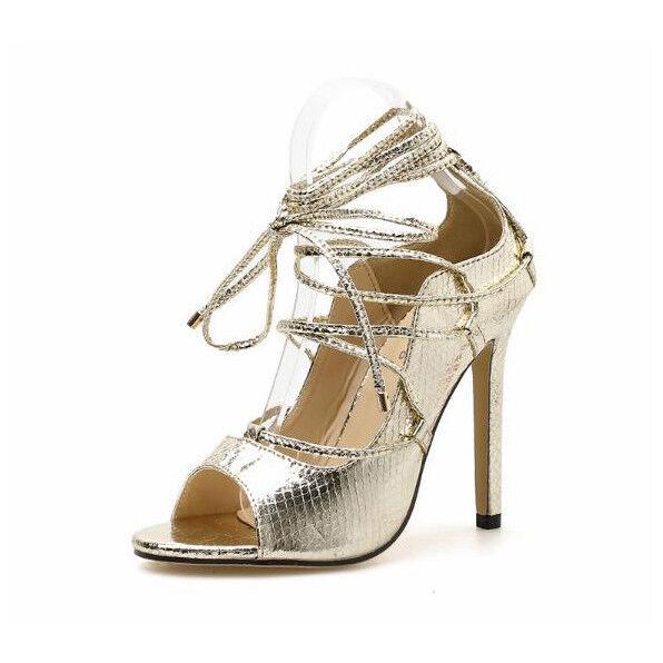 Sandali stiletto spillo 12 cm oro eleganti lacci simil pelle comodi eleganti oro  9616 3f859a