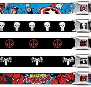 "Seat Belt Buckle 1.5"" x 24-38"" Marvel Comics Punisher Deadpool Hulk Spider Man"