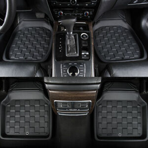 Car-Floor-Mats-Universal-Square-Black-Front-With-Rear-4PC-Non-Slip-for-SUV-Sedan