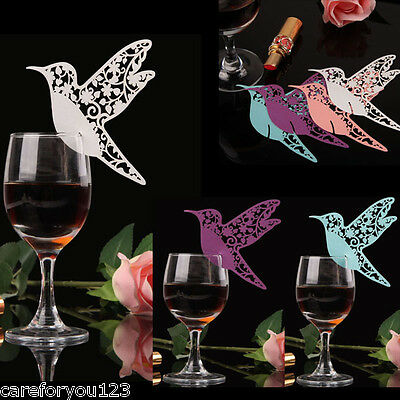 50 Pcs Bird Place Escort Wine Glass Paper Card Table Decor for Wedding Party Bar
