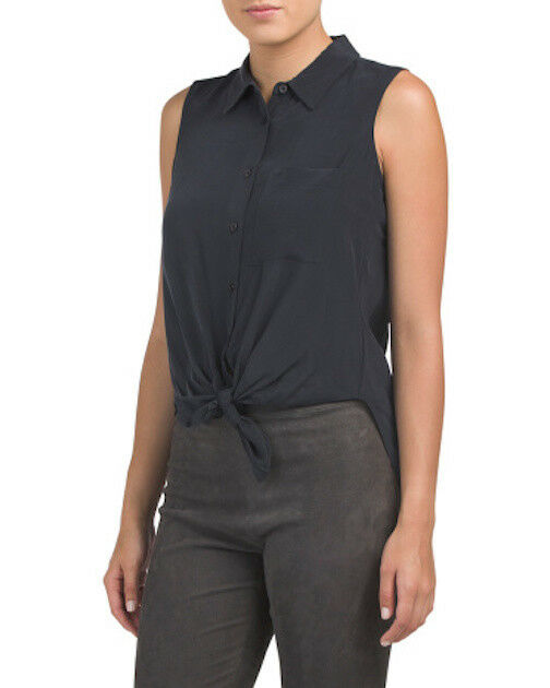 Theory Hekanina SL Concord Summer Silk Top Chemisier Grande Neuf avec étiquettes 225