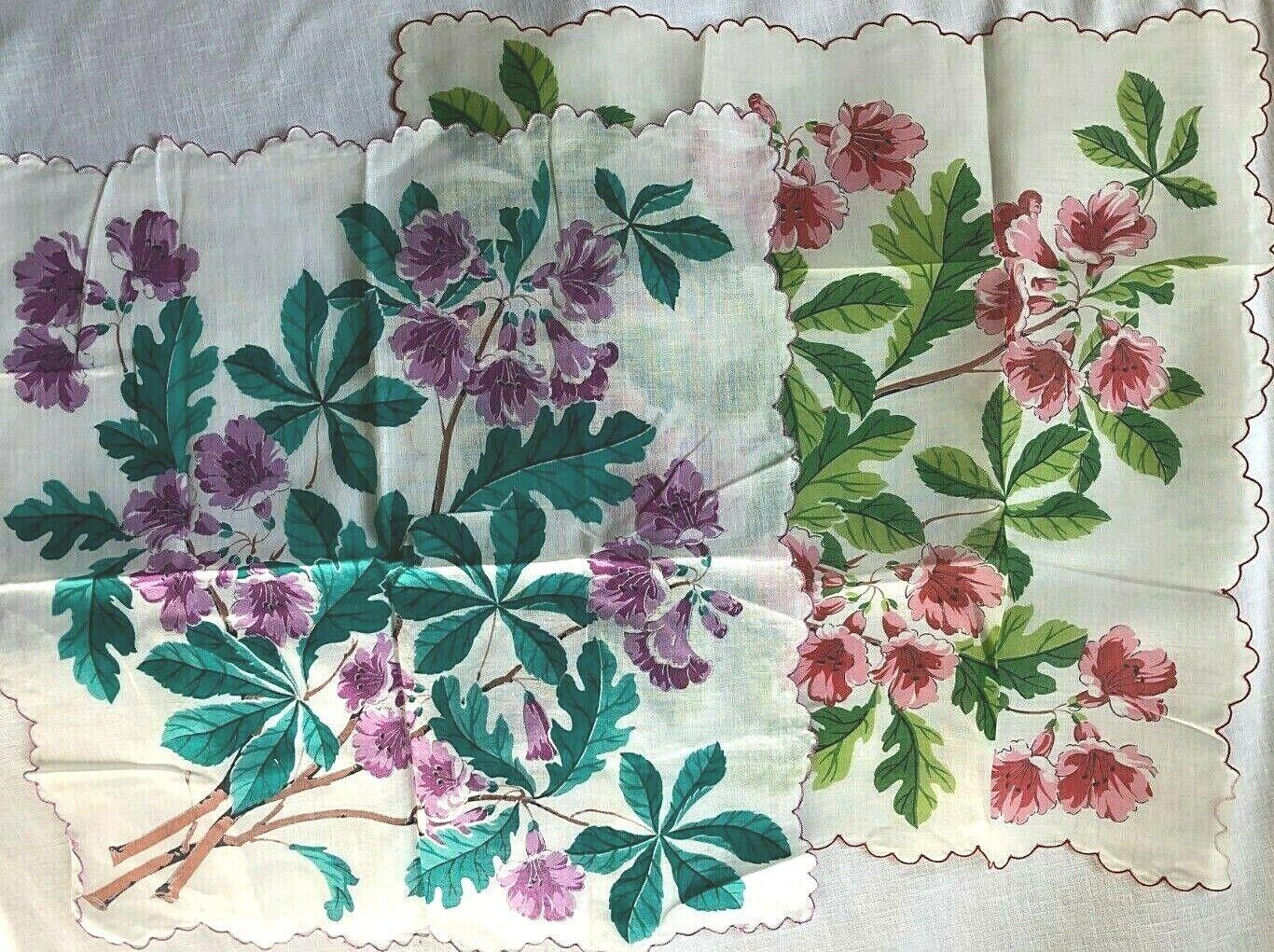 Set of 2 Vintage Floral Cotton Handkerchiefs 16 x 16 Scalloped Hem