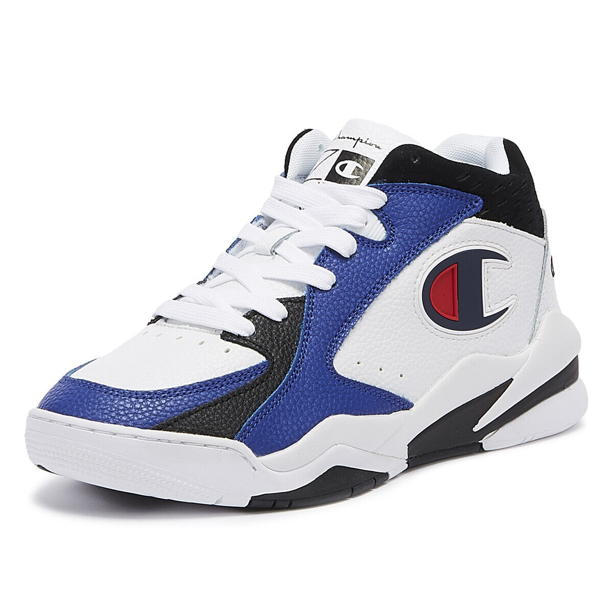 Champion Zone Mid Mens White   Black   Navy Trainers Lace Up Sport Casual shoes