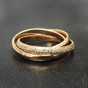 060Carat Round Diamond Pave Set Russian Trio Wedding Band in 18k