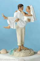 Groom Carrying Bride Beach Wedding Cake Topper Custom Colors Available