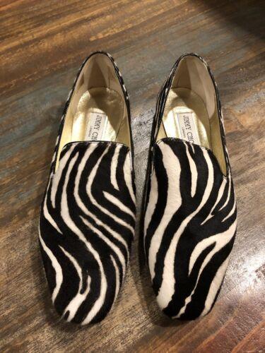 Jimmy Choo Zebra print calfhair smoking loafers fl