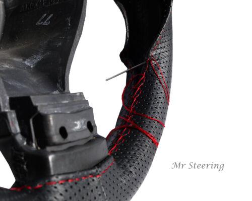 Pour Vw Transporteur T5 cuir véritable perforé volant couvre coutures rouge