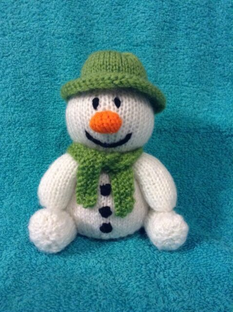 KNITTING PATTERN The snowman with green hat chocolate orange cover or 15  cms toy f37b407fc88