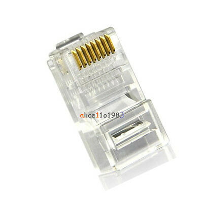 15Pcs Practical Internet Gold Plated Cable Modular Plug Adapter RJ45 CAT5E 8P8C