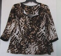 Notations Size 2x Animal Print Top, Henley Style, 3/4 Sleeves, Brown,, Black