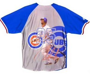 timeless design 79f39 69c8c Details about Derrek Lee Photo Print Jersey Chicago Cubs #25 Youth L 14/16  Majestic MLB