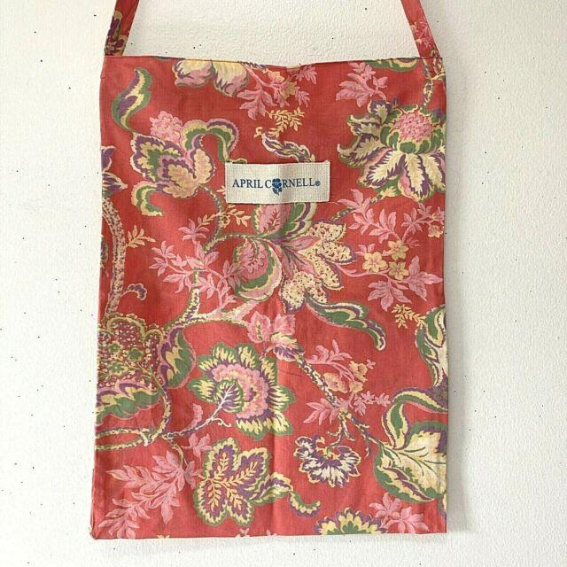 April Cornell Red Floral Cotton Open Small Tote Bag Shopper Farmers Market 13x19