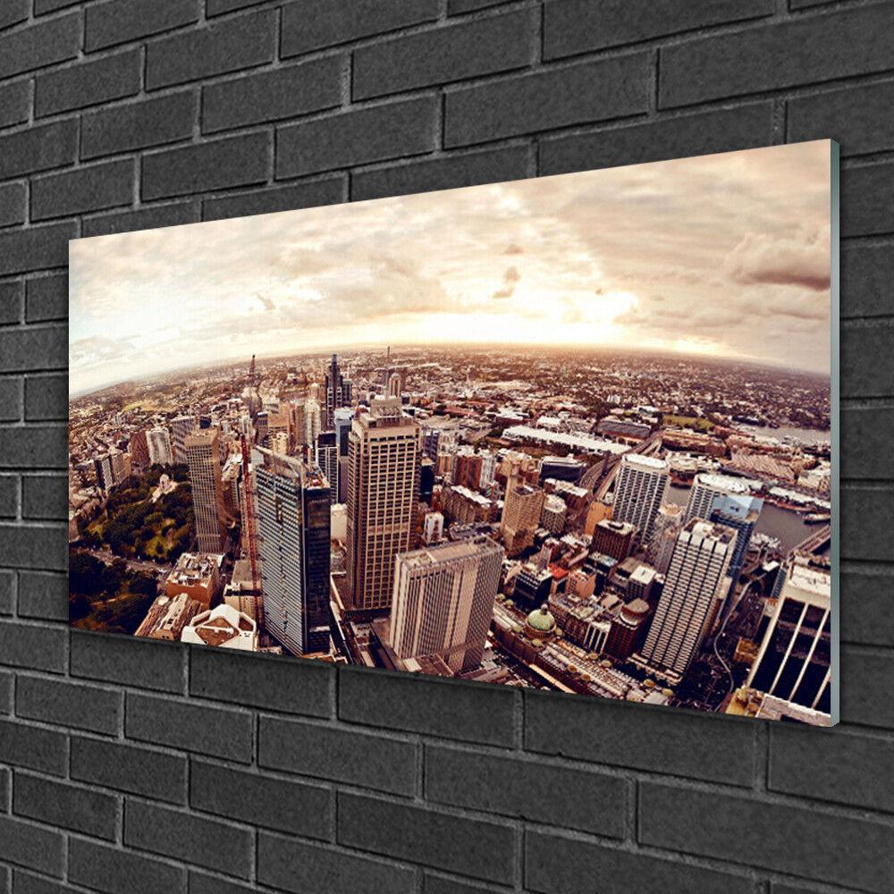 Image sur verre acrylique Tableau Impression 100x50 Paysage Ville