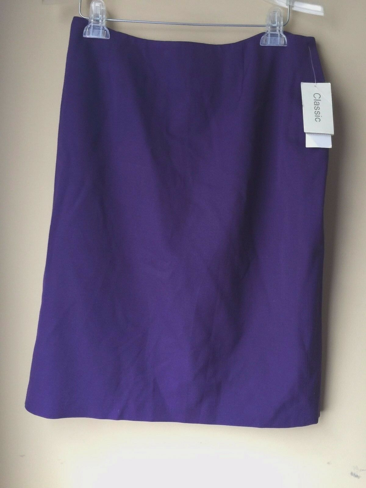 Austin Reed Plum Dark Purple Straight Wool Flat Front Lined Skirt 12