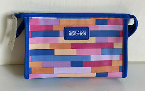 KENNETH-COLE-REACTION-ROYAL-BLUE-EAST-WEST-TRAVEL-MAKEUP-COSMETIC-POUCH-CASE