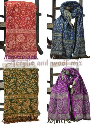 Colourful Acrylic Tassels Wool Blend Paisley Pashmina Cashmere Scarf Shawl Wrap