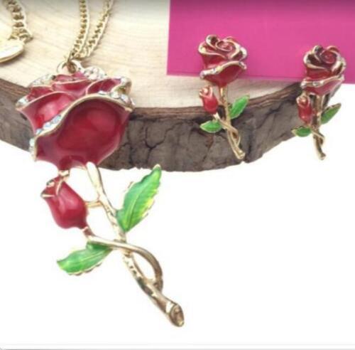 Set Enamel Jewelry Betsy Johnson Pendant Rose Rhinestone Earrings Necklace