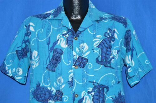 vtg 50s HOOKANO BLUE PINEAPPLE ALOHA HAWAIIAN SELV