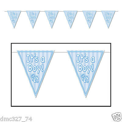 BABY SHOWER Party Decoration Pennant FLAG BANNER Blue IT'S A BOY 12 ft long