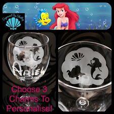 Disney Princess Hand Engraved 'Charm' Wine Glass! Ariel The Little Mermaid Shell