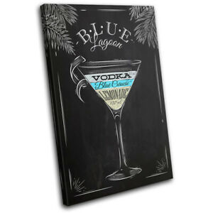 Blue-Lagoon-Cocktail-Alcohol-Vintage-SINGLE-CANVAS-WALL-ART-Picture-Print