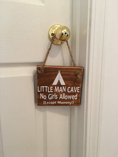 Little Man Cave Indian Tee Pee Wooden Nursery Boy's Room Door Sign