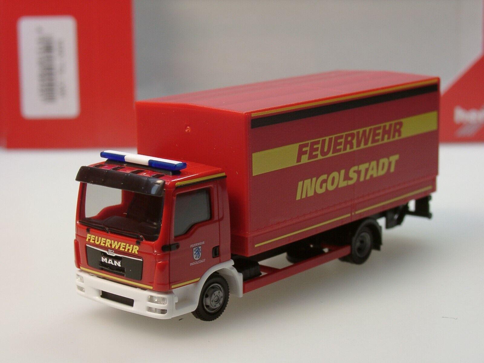 Herpa MAN TGL Planen-LKW mit Ladebordwand  Feuerwehr Ingolstadt  - 094221 - 1 87  | Sale Deutschland