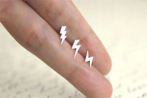 Image Is Loading Small Silver Plated Lightning Bolt Ear Studs Strike