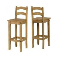 Antique Bar Stools Pair Wooden Solid Pine Tall Wood Chairs Set Breakfast Bar Pub
