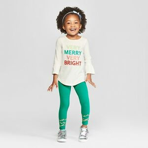 d1041a23012165 Toddler Girls Christmas/Holiday LS Very Merry & Bright Top Lights ...