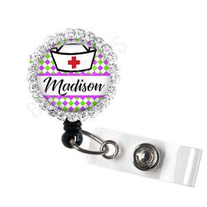 Teacher Retractable Badge Reels Monogrammed Badge Reel ID Holder Pink White Check and Lime Green Letter- Custom Badge Reel RN Nurse